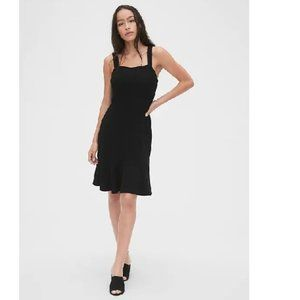 NWT Gap Apron Flounce Dress 6P Black D398
